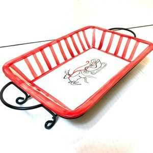 Pai Holiday Ceramic Serving Dish with Metal Stand